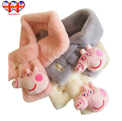Children's 3 D Pink Pig Head Faux Fur Scarf  3 Colors Pink,White,Gray