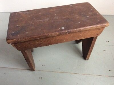 Small Vintage Old Primitive Wooden Milking Stool Side Table Plant Stand