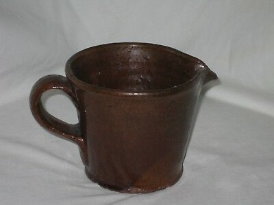 "Antique 4"" Tall Red Ware Pitcher Circa 1800"