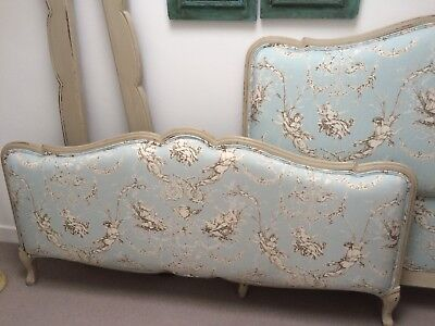 French Double Upholstered Bed Capitone Cloud Cherub Headboard Footboard