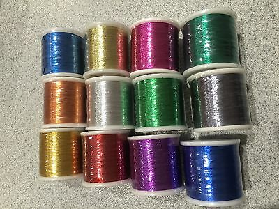 12 Spools PacBay metallic thread for rod building & repair. 100yds each. Size A