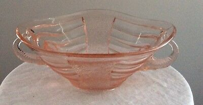 Sowerby Art Deco Pink Glass Elephant Handle Bowl