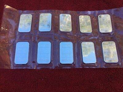 10 x 1oz Johnson Matthey .999 Silver Bullion bars (Consecutive serial no.)