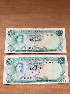 The Central Bank Of The Bahamas 1974 $1 One Dollar Bank Note (Qty 2)