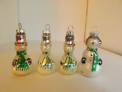 Vintage Lot of (4) Figural Mouth Blown Mercury Glass Snowman Ornaments