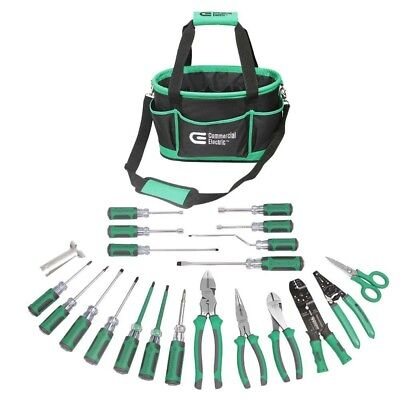 22-Piece Electrician's Tool Set Kit Carrying Bag Tote Case Pliers Screwdriver