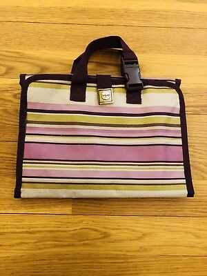 Thirty One Makeup Organizer Bag Purple Twill Stripe