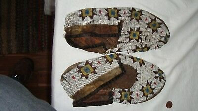 antique native american moccasins 10 inches long