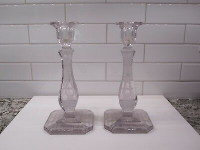 """Pair Antique Crystal Etched Candlesticks w/ Purple hue 8 3/8"""" Art Deco-see!"""