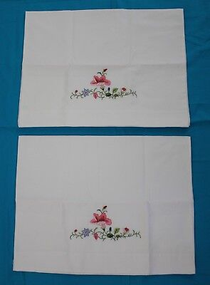 Pair Vintage Embroidered Pillow Cases