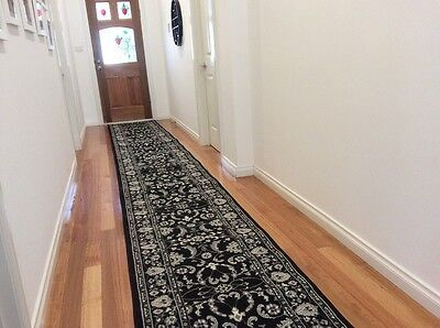 Hallway Runner Hall Runner Rug Traditional Black 8 Metres Long FREE DELIVERY 34