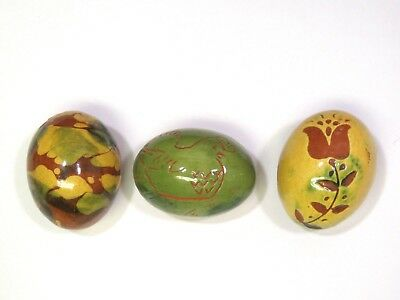 3 Lester Breininger Pottery Eggs  Dated 1976  Redware  Chicken Flower Swirl Folk