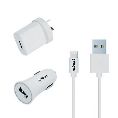 NEW mbeat 3-in-1 MFI USB Lightning Charging Kit w 2.1A Car + Wall Charger