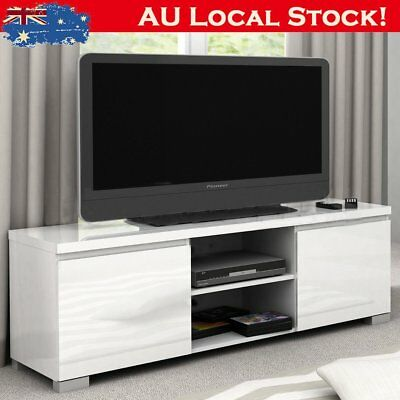 High Gloss 2 Compartment 2 Door Entertainment Unit 2 Color TV Stand Storage OZ