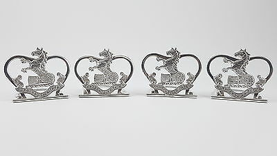 Set Of 4 Solid Sterling Silver Armorial Crest Menu Place Holders