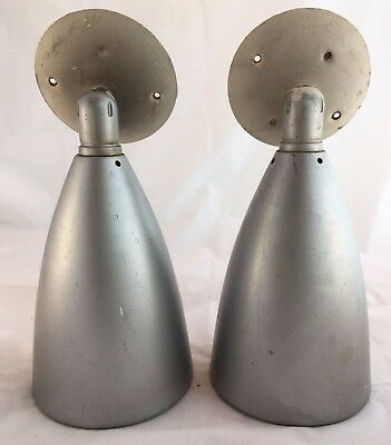 Wall Sconce Light PAIR Mid-Century Modern Vintage Lamp Swivelier Cone Bullet