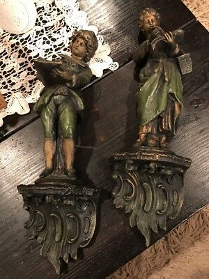 Vintage Scholars Boy & Woman with Book Porcelain Carved Wall Shelf Sconce
