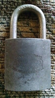 Vintage ANTIQUE JUNKUNC BROS AMERICAN LOCK Solid Brass Military Padlock NO KEY