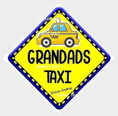 GRAND DAD'S TAXI  - AUSTRALIA MADE - 2 Peel Off Strips to glass - FREE POST