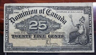 1900 Dominion Of Canada 25 Cent Bank Note Shinplaster Lot 3B - Nice Circulated