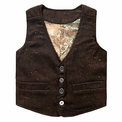 Coodebear Boys' Girls' Map Lined Pockets Buttons V Collar Vests Coffee Size 8T