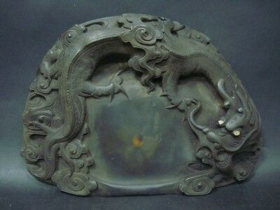 Amazing Rare Old Chinese Hand Carving Dragon InkStone InkSlab Marks