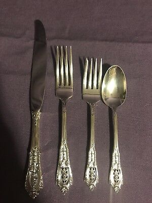 Wallace Rose Point Sterling Silver 4 Piece Place Setting Silverware Flatware