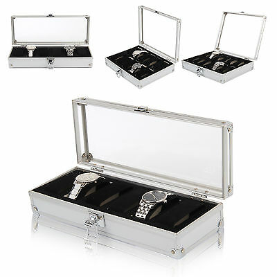 Watch Storage Case Bracelet Aluminium Organiser Display Box With Pillows Holders