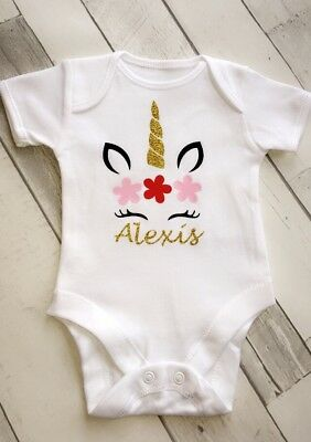 Unicorn Personalised Gold Baby Vest All In One Romper Body Suit
