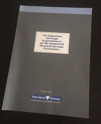 Collectable STATE SAVINGS BANK OF VICTORIA Pensioner Income Provisions 1991