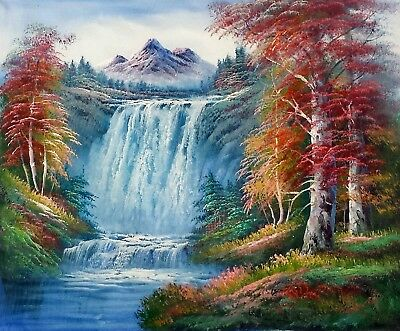8e305f013 Waterfall Landscape - #1, 20x24,100% hand Painted Oil Painting on Canvas