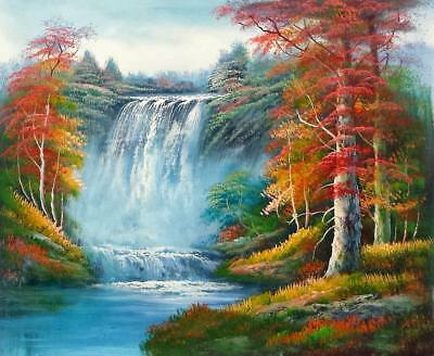 178ec7920 Waterfall Landscape - #6, 20x24,100% hand Painted Oil Painting on Canvas