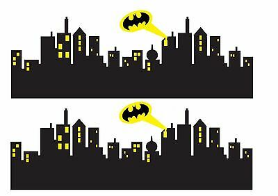 "2 X Strips of Gotham City Skyline / Batman 4"" x 10"" each Cake Topper ICING"