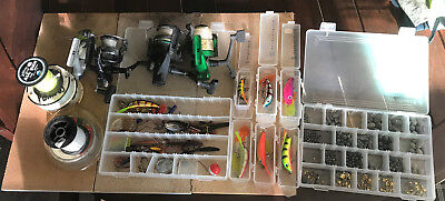 Assortment of fishing gear.