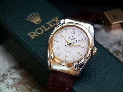 Magnificent 1940's Steel & Gold Hooded Lug Rolex 'Super' Oyster Bubbleback Watch
