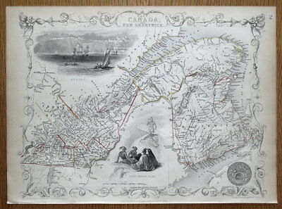 EAST CANADA and NEW BRUNSWICK, QUEBEC, MONTREAL Rapkin & Tallis antique map 1851