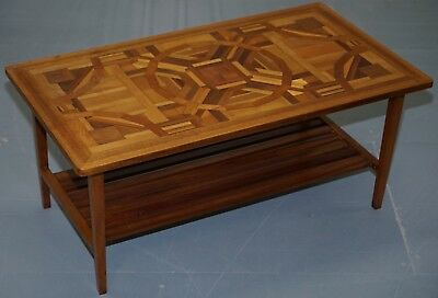 Mid Century Modern Marquetry Inlaid Coffee Table Lovely Detailing Rare Find