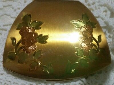 Elgin Compact Vintage Beautiful Gold With Light Pink Flowers /green Leaves