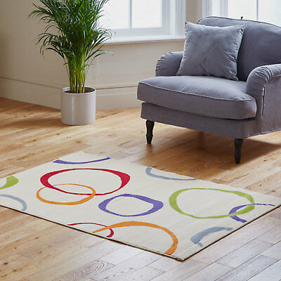 Circle Design Quality Clearance Rug Attractive Cream New Modern Rug On Sale
