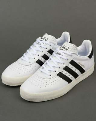 adidas 350 Trainers in White & Black leather - retro classic 3 stripes SALE