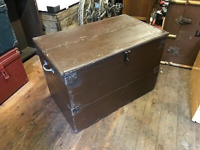 Vintage Rustic PINE Wood Blanket box, Antique Trunk, tool chest