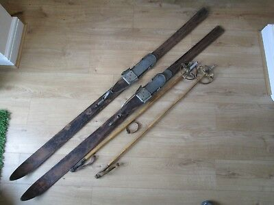 Antique Old Vintage Wooden Skis Willy Walsh Arlberg _Bamboo Poles Good Bargain
