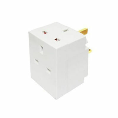 3 Way Mains Socket Adaptor Multi Plug Fused Adapter Uk Three Way 240V 13A P&P