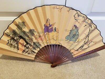 Antique Asian Large Double Sided Paper Hand Held Fan/Hand Painted