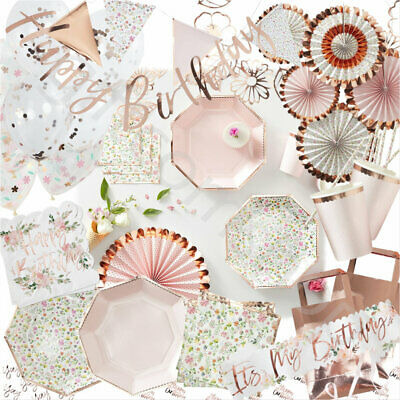 Rose Gold Tableware Decoration Supplies Summer Floral Tea Party Accessories