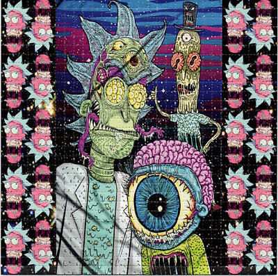 Tripping Rick And Morty Blotter Art Psychedelic Perforated Print Acid Lsd Free