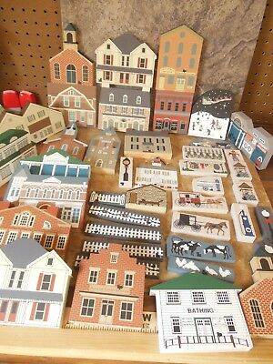 Cats Meow Lot Of 42 Pieces Buildings, Fences, Animals, And More