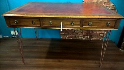 mahogany desk, library table, antique style, leather topped desk, 20th century.