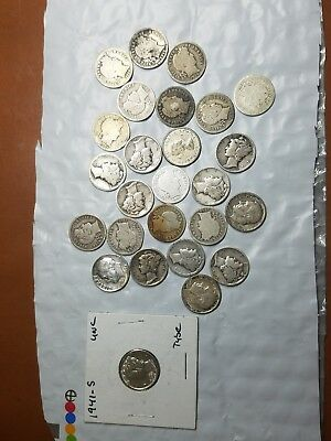 Silver Dimes Lot Barber Roosevelt Mercury U.S. Coins