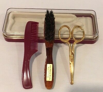 Vintage 3PC Baby Grooming Kit Comb Brush w/ Safety Scissors In Box West Germany